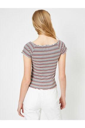 Koton Kadın Pembe Çizgili T-shirt 3