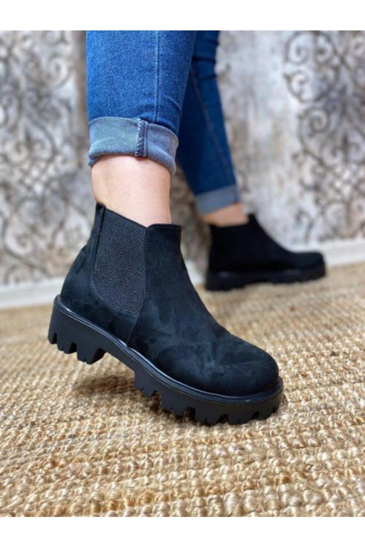 Gazal Shoes Kadın Siyah Kenar Bantlı Bot