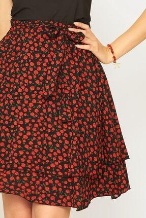 Batik Kadın Kırmızı Desenlı Casual Etek Y42669 Dkm 3