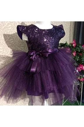 Pumpido Mürdüm Renk Pul Payetli Kız Çocuk Elbisesi 0