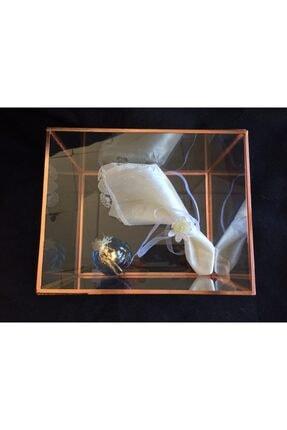 GÜVEN Cam Sandık Damat Bohçası Zincir Detaylı Fanus 25x20x18 Cm 3