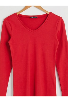 LC Waikiki Kadın Kırmızı Uzun Kollu Tişört 2