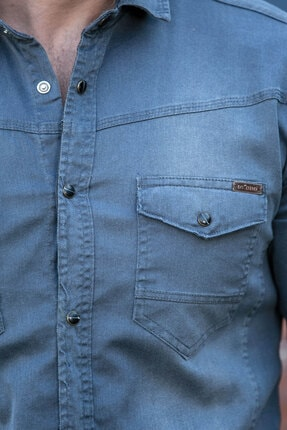 BAYEFENDİ Gri Cepli Kot Gömlek Slim Fit 3