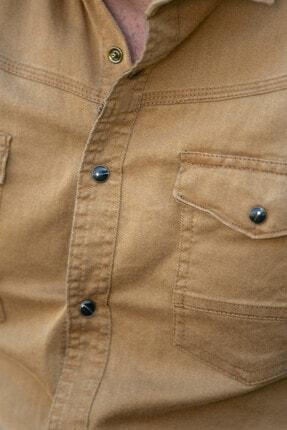 BAYEFENDİ Hardal Cepli Kot Gömlek Slim Fit 4