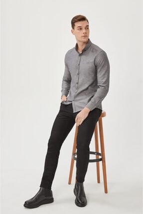 Avva Erkek Antrasit Oxford Düğmeli Yaka Regular Fit Gömlek E002000 3