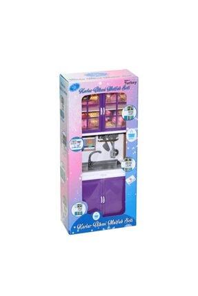 Muhcu Toys Kız Çocuk Mor Dolaplı Lavabo Mutfak Seti 0