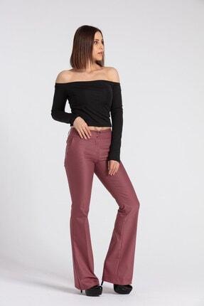 Jument Kalın Kemerli Cepli Ispanyol Bol Paça Likralı Kumaş Pantolon-gül Kurusu 1