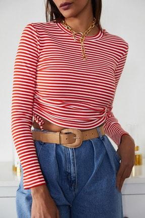 Xena Kadın Kırmızı Büzgülü Çizgili Bluz 1KZK2-11220-04 1