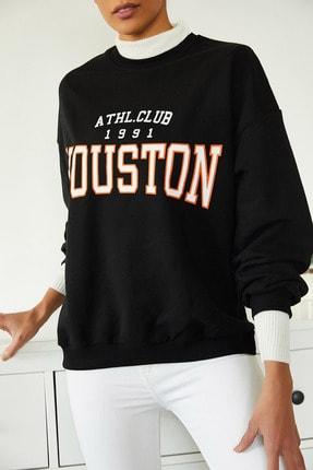 Xena Kadın Siyah Baskılı Polarlı Sweatshirt 1KZK8-11232-02 2