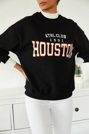 Xena Kadın Siyah Baskılı Polarlı Sweatshirt 1KZK8-11232-02 3