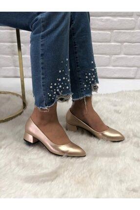 41-42-43-44 Büyük Numara Gold Kadın Topuklu Ayakkabı GMSTPKL04