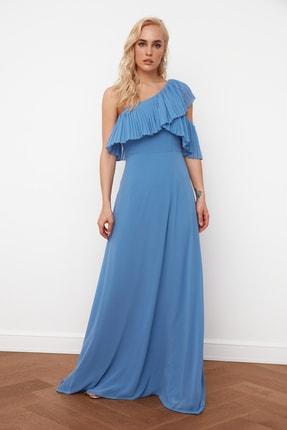 TRENDYOLMİLLA Mavi Kol Detaylı  Şifon Abiye & Mezuniyet Elbisesi TPRSS21AE0002 3