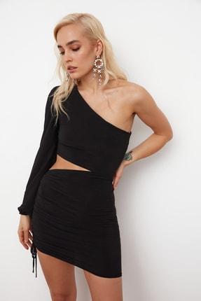 TRENDYOLMİLLA SiyahTek Kol Drapeli Elbise TPRSS21EL0179 3