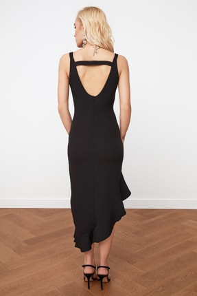 TRENDYOLMİLLA Siyah Eteği Asimetrik Elbise TPRSS19FZ0243 4