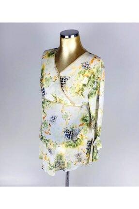 V Yaka Çiçek Desenli Ince Yeşil Hamile Bluz HML053