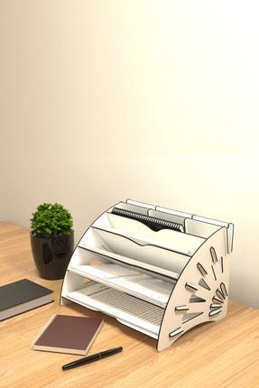 KUK Design Beyaz Delcia Modern Pratik Ofis Masaüstü Organizer Düzenleyici A4 Evrak Rafı 3