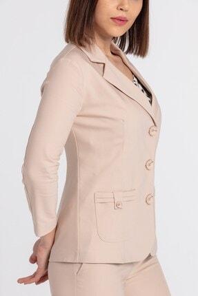 Jument Kadın Bej Yakalı Cep Detaylı Blazer Ceket 4