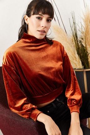 Olalook Kadın Kiremit Balon Kol Bel Üstü Kadife Bluz BLZ-19000709 1
