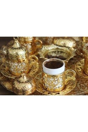 YamanlarPlastik Kahve Fincan Seti. 6 Kişilik Otantik Desenli Tepsili Fincan Takımı. Gold 27 Parça 1