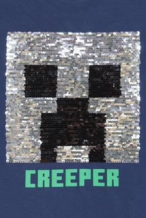 Minecraft Çocuk Minecraft Creeper T-shirt Lacivert 3
