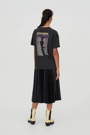 Pull & Bear Kadın Siyah Pamuklu  T-Shirt 2