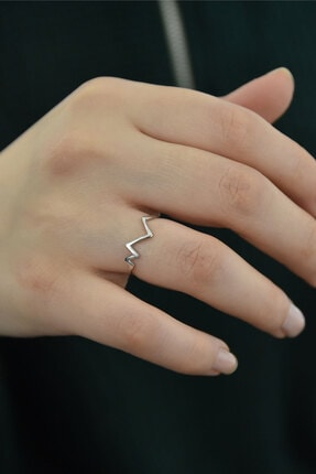 Papatya Silver 925 Ayar Gümüş Rodyum Kaplama Kalp Ritmi Ayarlanabilir Yüzük 0