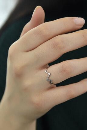 Papatya Silver 925 Ayar Gümüş Rodyum Kaplama Kalp Ritmi Ayarlanabilir Yüzük 1