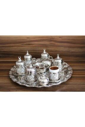 YamanlarPlastik Kahve Fincanı Seti 27 Parça. 6 Kişilik Otantik Desenli Tepsili Gümüş Kahve Seti. 2