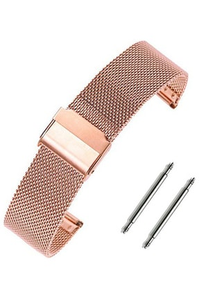 Trendburada Samsung Galaxy Watch 3 41mm Saat Uyumlu Rosegold Renk Paslanmaz Çelik Hasır Saat Kordonu 0