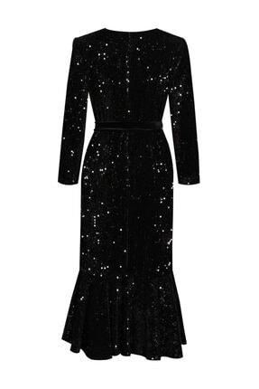 VENTİUP Siyah Uzun Volanlı Kadife Payet Elbise 0