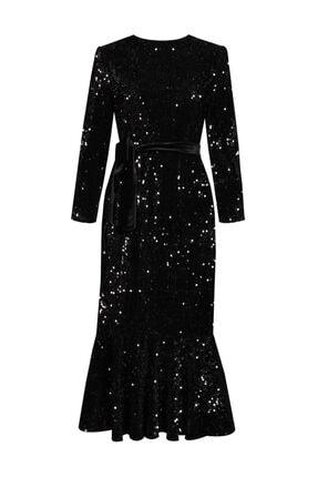 VENTİUP Siyah Uzun Volanlı Kadife Payet Elbise 1