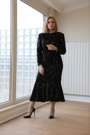 VENTİUP Siyah Uzun Volanlı Kadife Payet Elbise 2