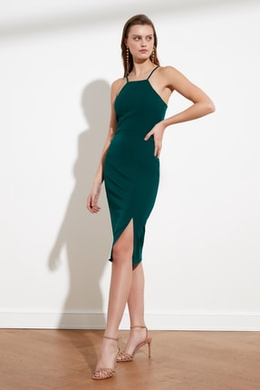 TRENDYOLMİLLA Zümrüt Yeşili Askılı Elbise TWOSS19BB0501 0