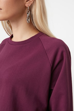 TRENDYOLMİLLA Mürdüm Basic Örme Sweatshirt TWOAW20SW0055 3