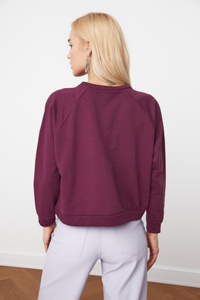TRENDYOLMİLLA Mürdüm Basic Örme Sweatshirt TWOAW20SW0055 4