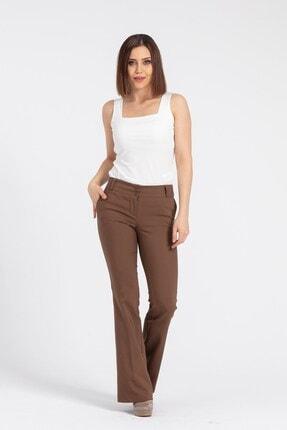 Jument Kadın Kahverengi Kalın Kemerli Cepli İspanyol Bol Paça Likralı Kumaş Pantolon 0