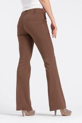 Jument Kadın Kahverengi Kalın Kemerli Cepli İspanyol Bol Paça Likralı Kumaş Pantolon 1