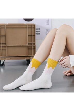 çorapmanya Çok Renkli Zikzak Çizgili Pamuklu Kolej Tenis Çorap 12'li 3