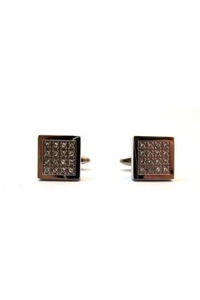 Kol Düğmesi Siyah Kare Çelik Kol Düğmesi SM0000004287