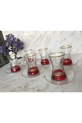 6 Kişilik 12 Parça Kırmızı Çay Bardak Takımı BFT0152