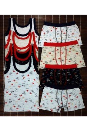 ADN Underwear 4 Adet Erkek Çocuk Ikili Takım Atlet Boxer Şort Külot Pamuklu Karışık Renkli Balık Desenli 0