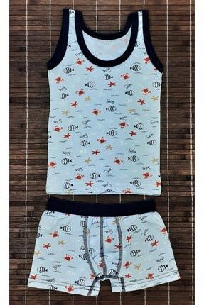 ADN Underwear 3 Adet Erkek Çocuk Ikili Takım Atlet Boxer Şort Külot Pamuklu Karışık Renkli Balık Desenli 2