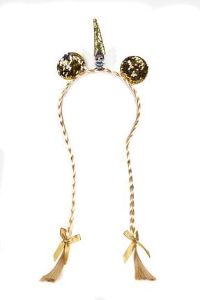 Taç - Örgülü Taç - Unicorn Taç - Altın - Gold - Hediyelik - Parti NY001750