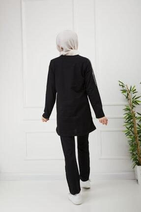 CNG MODA Kadın Tesettür V Şeritli Siyah Eşofman Takımı 3