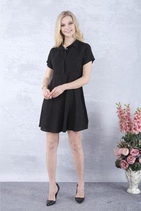 YAKAMOZ34BUTİK Kadın Siyah Önden Yarı Düğmeli Elbise 2