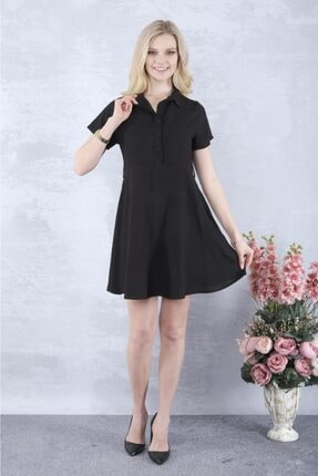 YAKAMOZ34BUTİK Kadın Siyah Önden Yarı Düğmeli Elbise 3