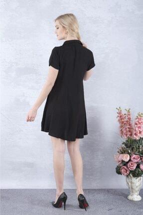 YAKAMOZ34BUTİK Kadın Siyah Önden Yarı Düğmeli Elbise 4
