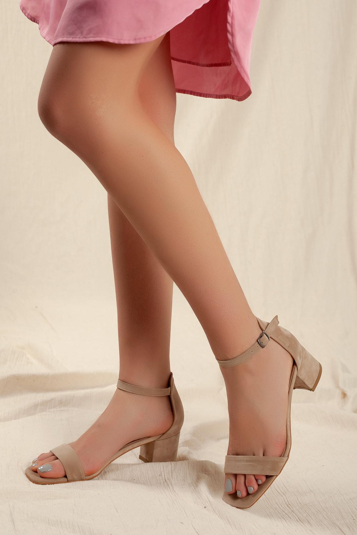 Kadın Vizon Süet Tek Bant Klasik Düşük Topuklu Ayakkabı D0225