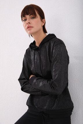 Tommy Life Siyah Gümüş Varak Kadın Kanguru Cep Büzgü Detaylı Rahat Form Kapüşonlu Sweatshirt 3