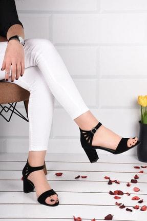 Weynes Kadın Siyah Süet Bilek Bağlamalı Topuklu Ayakkabı Ba19094 1